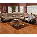 Seminole Furniture 6250  Double Reclining Console Sofa with Built-In Cup-Holders for Family Room Comfort - Shown as Modular Component in Sectional Sofa Configuration
