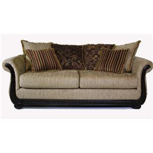Serta Upholstery by Hughes 8500 Hughes Wood Trim Sofa