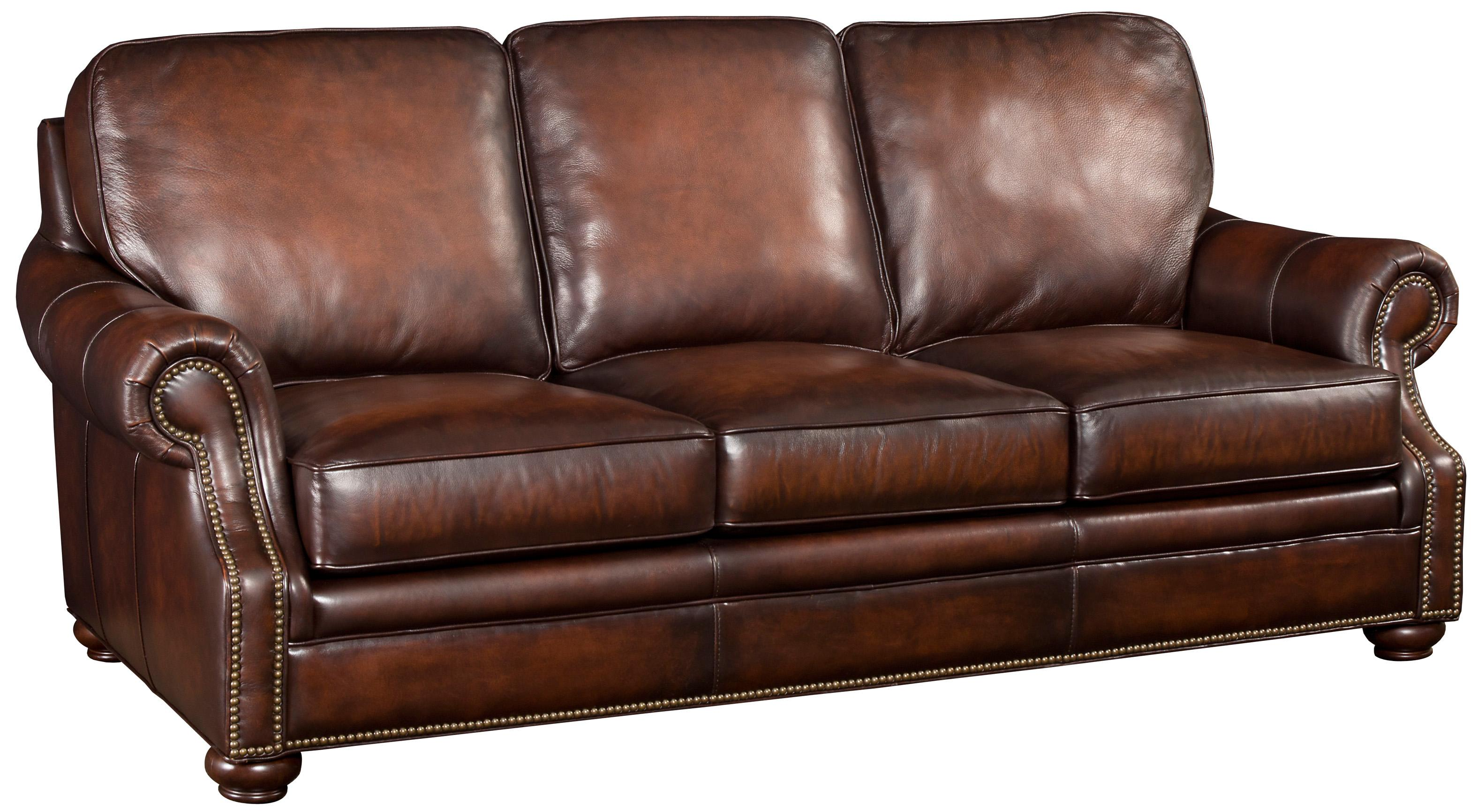 Brown Leather Sofa With Wood Exposed Bun Foot