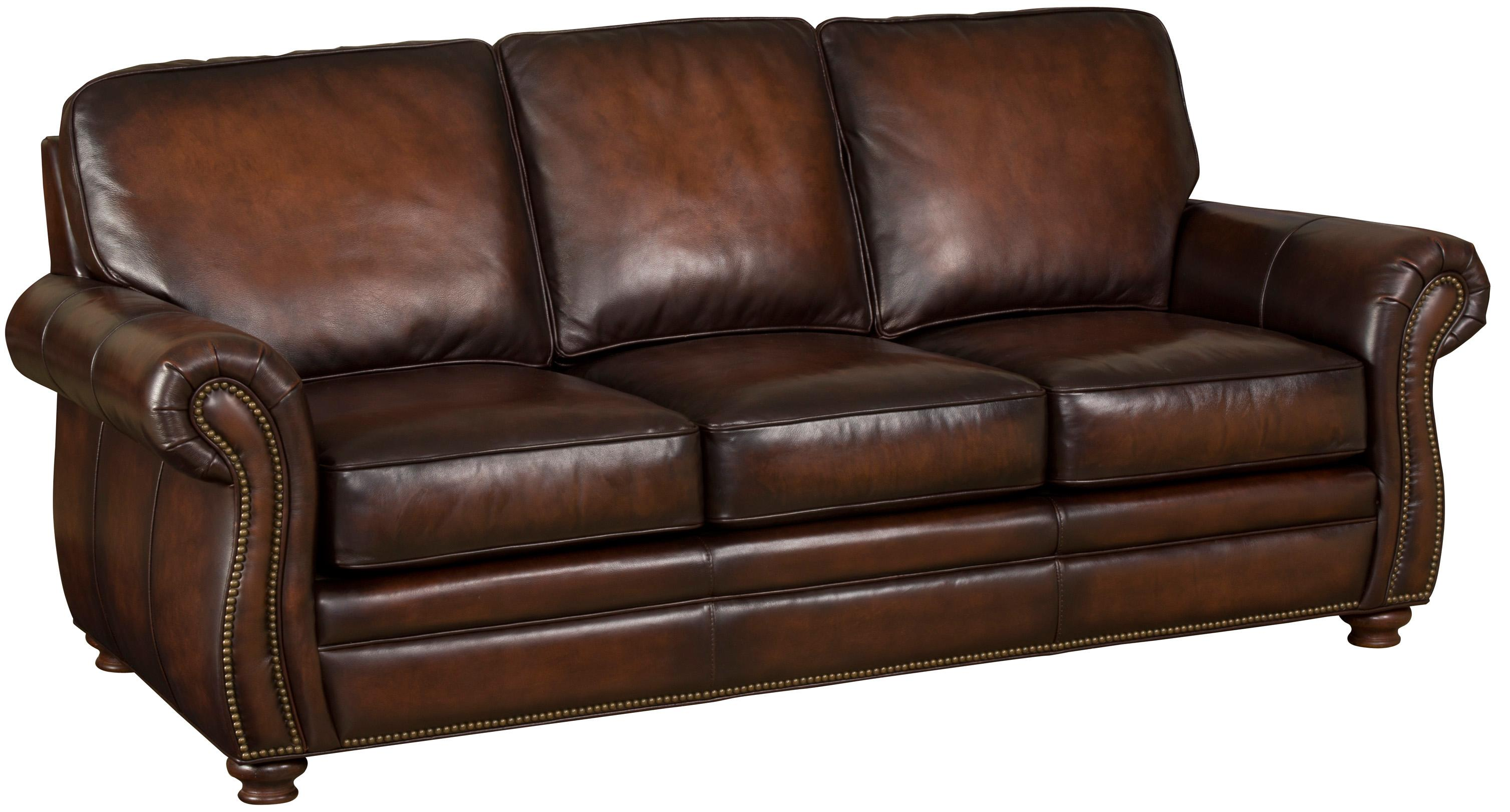 Brown Leather Sofa With Exposed Wood Bun Feet