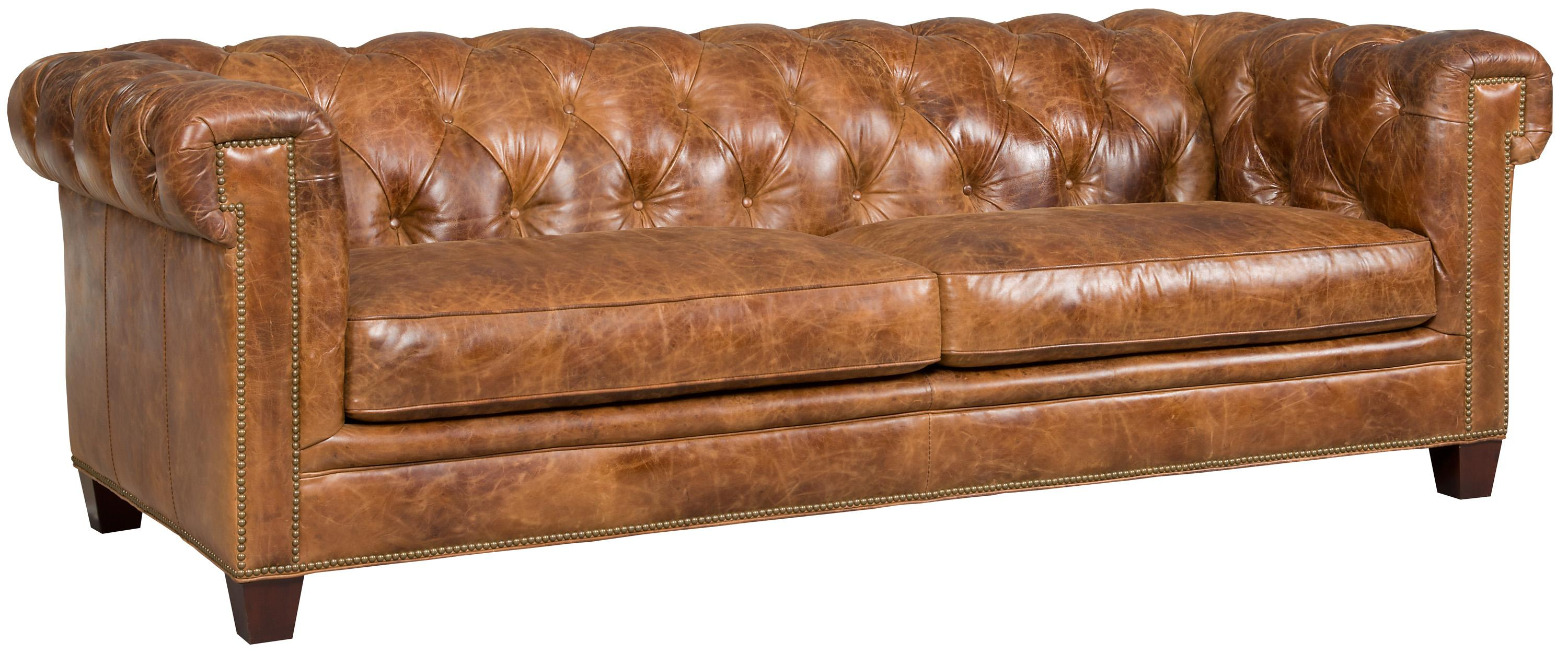 Transitional Chesterfield Sofa With Track Arms And Nailheads