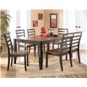 Signature Design by Ashley Alonzo 6 Piece Rectangular Table Set - Item Number: D367-35+01x4+08