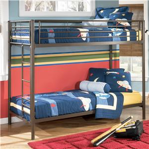Signature Design by Ashley Benjamin  Twin Over Twin Metal Bunk Bed