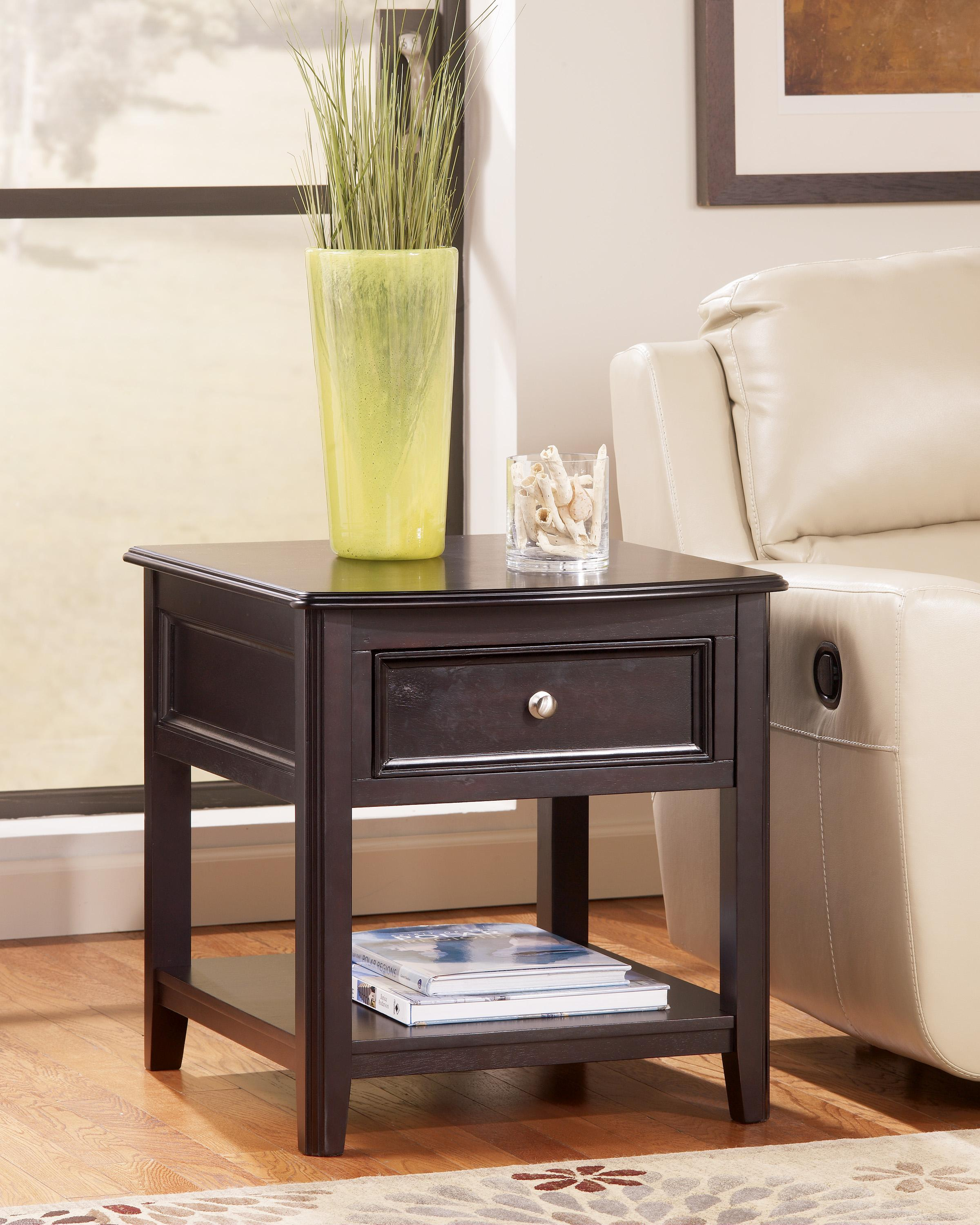 Rectangular End Table With Drawer And Bottom Shelf