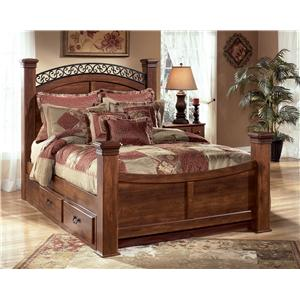 Signature Design by Ashley Timberline Queen Poster Bed with Storage