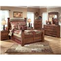Signature Design by Ashley Timberline Queen Poster Bed - Shown with Night Stand, Chest, Dresser, and Mirror