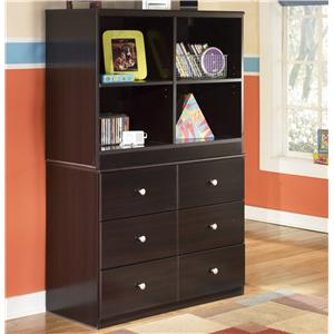 Signature Design by Ashley Furniture Embrace 6 Drawer Chest and Open Bookcase