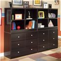 Signature Design by Ashley Embrace 6 Drawer Chest and Open Bookcase - Double Combo Wall Unit