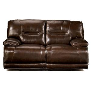 Signature Design by Ashley Exhilaration - Chocolate Reclining Leather Love Seat w/ Power