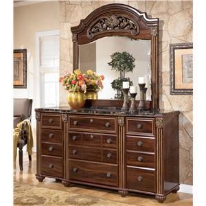 Signature Design by Ashley Gabriela 9 Drawer Dresser with Mirror