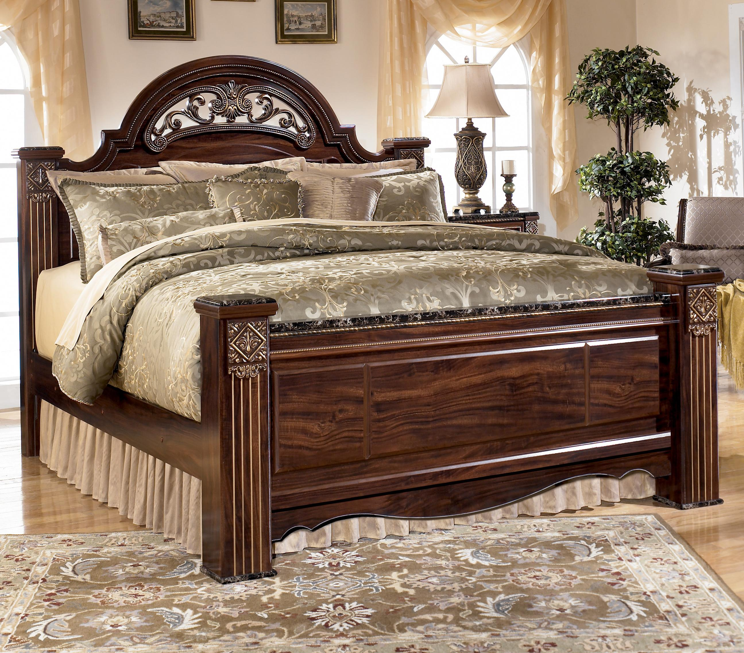 Traditional King Poster Bed with Faux Marble Detail by Signature ...