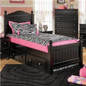 Signature Design by Ashley Furniture Jaidyn Twin Poster Bed with Underbed Storage