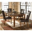 Signature Design by Ashley Furniture Lacey Rectangular Dining Table w/ Faux Marble Top - Shown as part of 5-piece table set