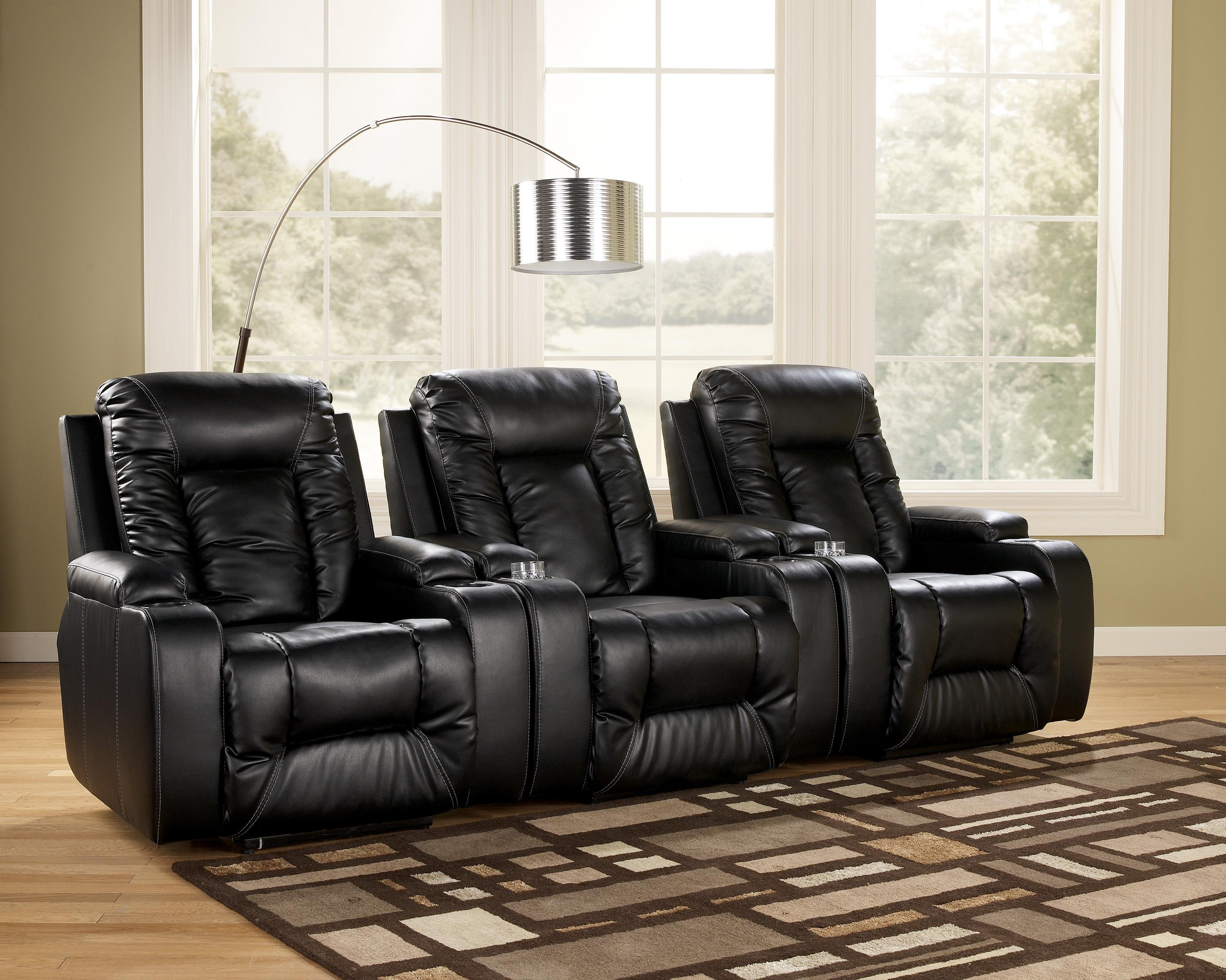 Contemporary 3 piece theater seating group by signature for Furniture xchange new jersey