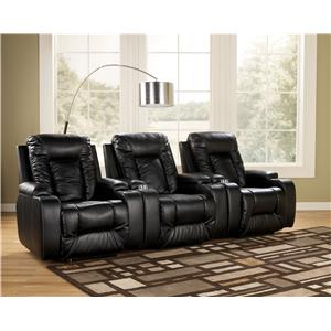 Contemporary 3 Piece Theater Seating Group with Power Recline