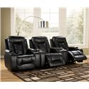 Signature Design by Ashley Matinee DuraBlend® - Eclipse Contemporary 3 Piece Theater Seating Group with Power Recline - Open