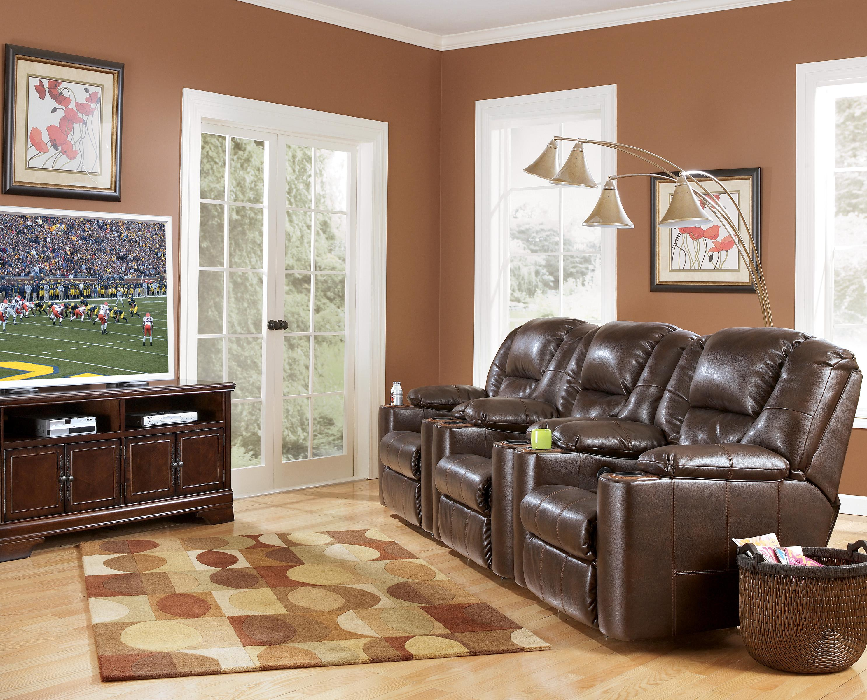 Piece Reclining Home Theater Group With Cup Holders By Signature - Home theater design group