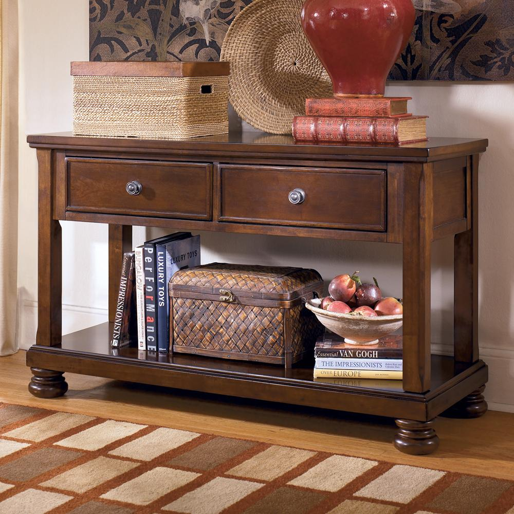 Sofa Table Media Console With Drop Front Drawers By