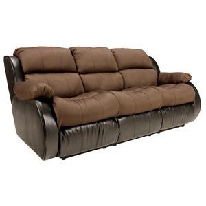 Signature Design by Ashley Furniture Presley - Espresso Reclining Sofa w/ Drop Down Table