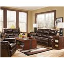 Signature Design by Ashley Furniture Rouge DuraBlend - Mahogany Power Reclining Loveseat - Shown with Sofa and Recliner