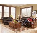 Signature Design by Ashley Furniture Rouge DuraBlend - Mahogany Power Reclining Loveseat - Shown with Sofa