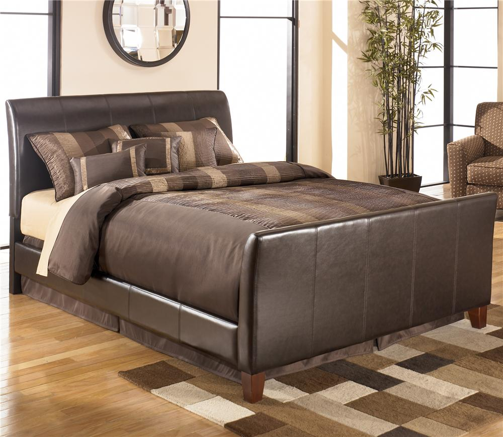 queen faux leather upholstered sleigh bed