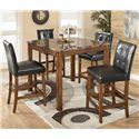 Signature Design by Ashley Theo 5 Piece Square Counter Height Table Set - Item Number: D158-233