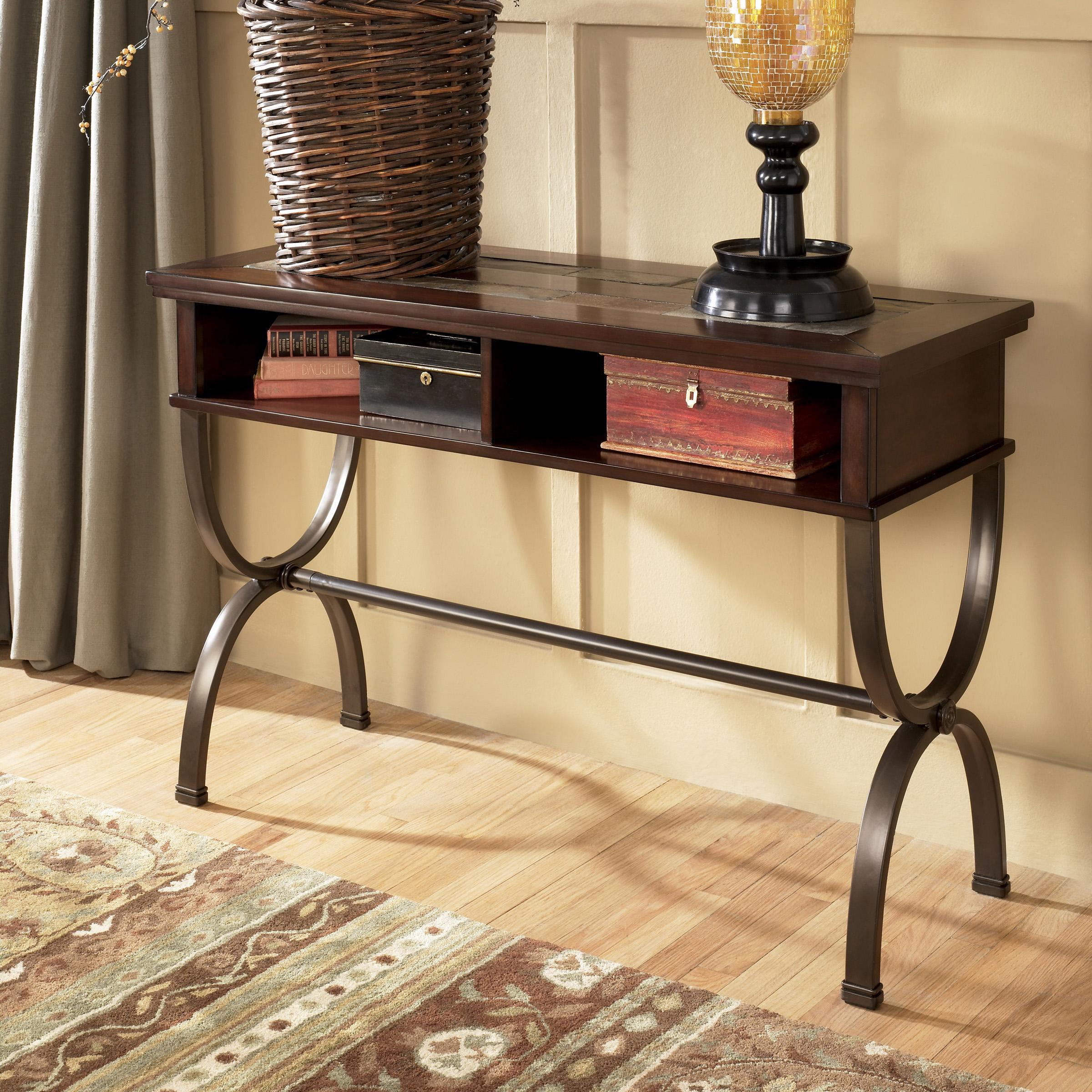 Sofa Console Table with Slate Inlay and Metal Base by Signature