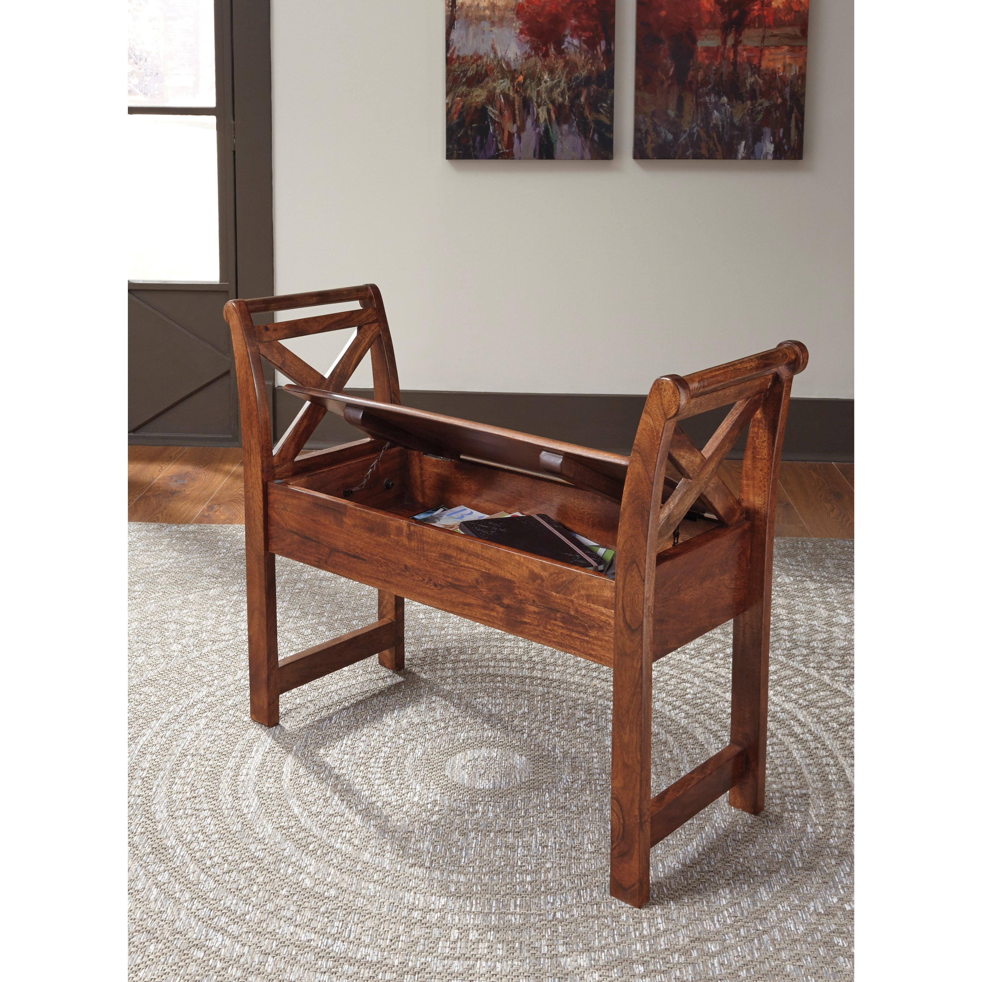 acacia solid wood accent bench with storage by signature design by