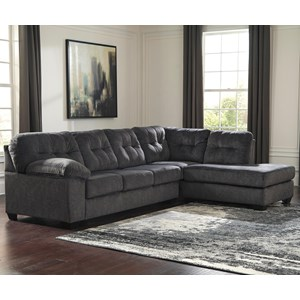 Contemporary Sectional with Right Chaise and Pillow Arm