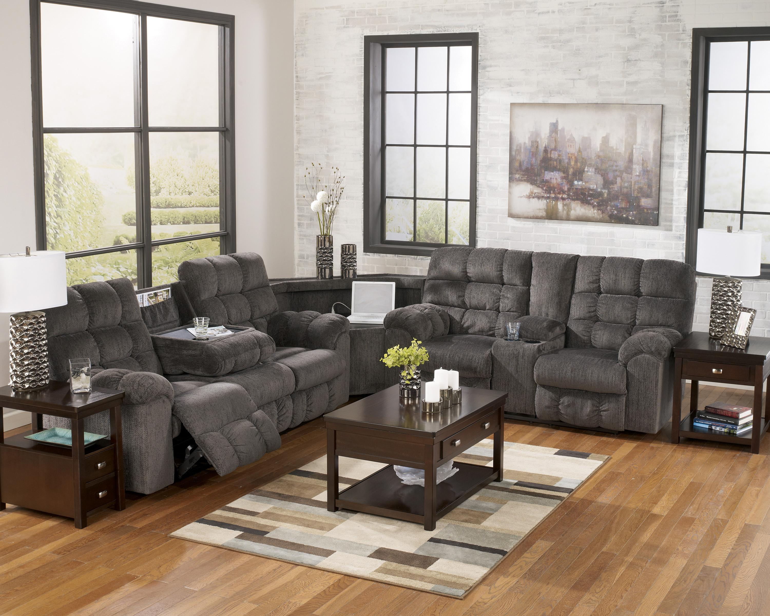 Reclining Sectional Sofa With Right Side Loveseat Cup