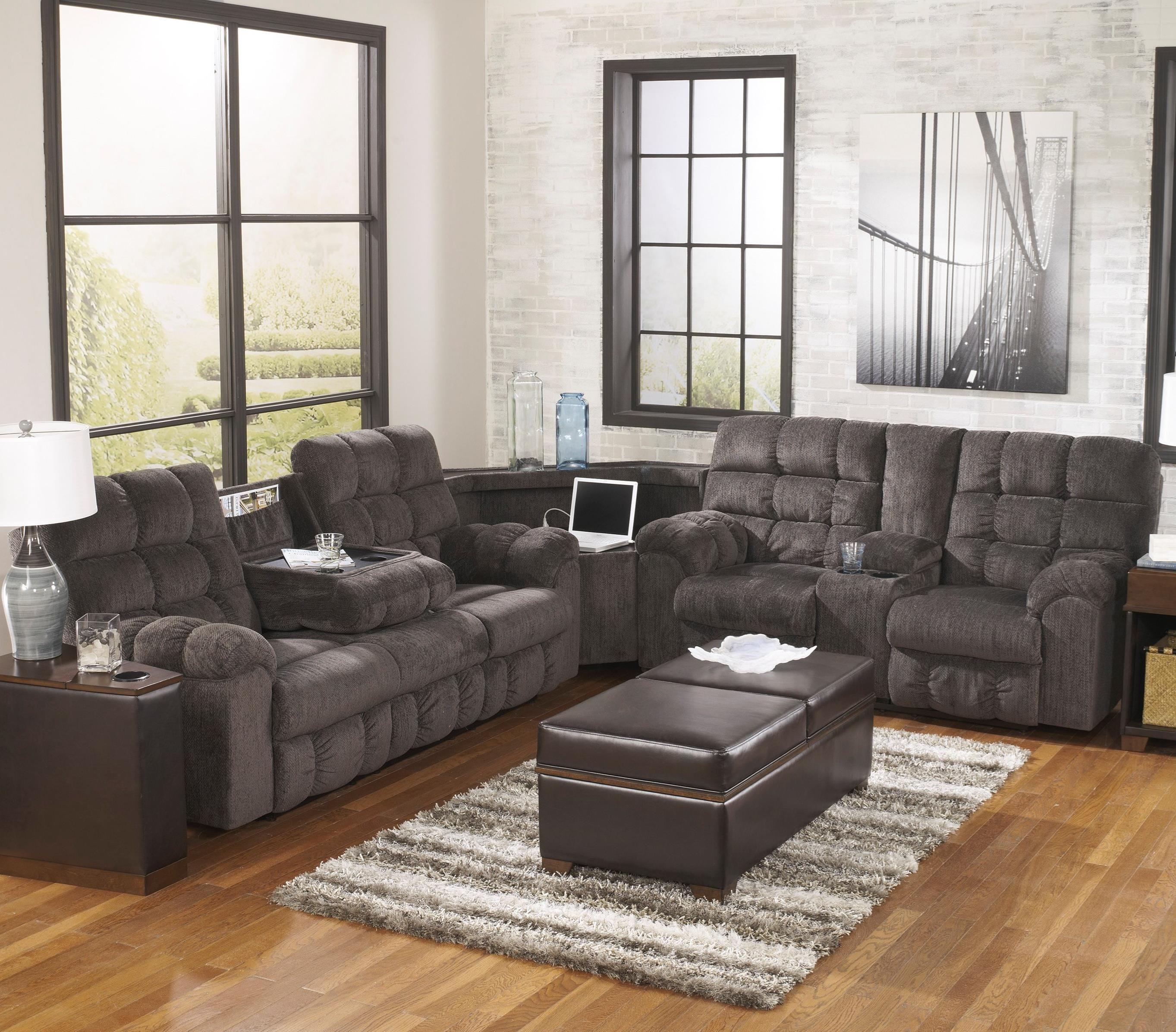 Reclining Sectional Sofa With Right Side Loveseat Cup Holders And Charging Station By Signature