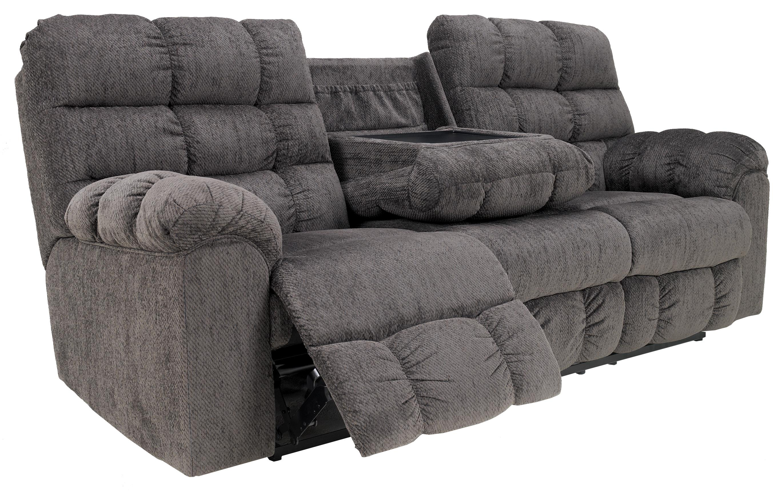 Reclining sofa with drop down table and cup holders by signature design by ashley wolf and Loveseat with cup holders