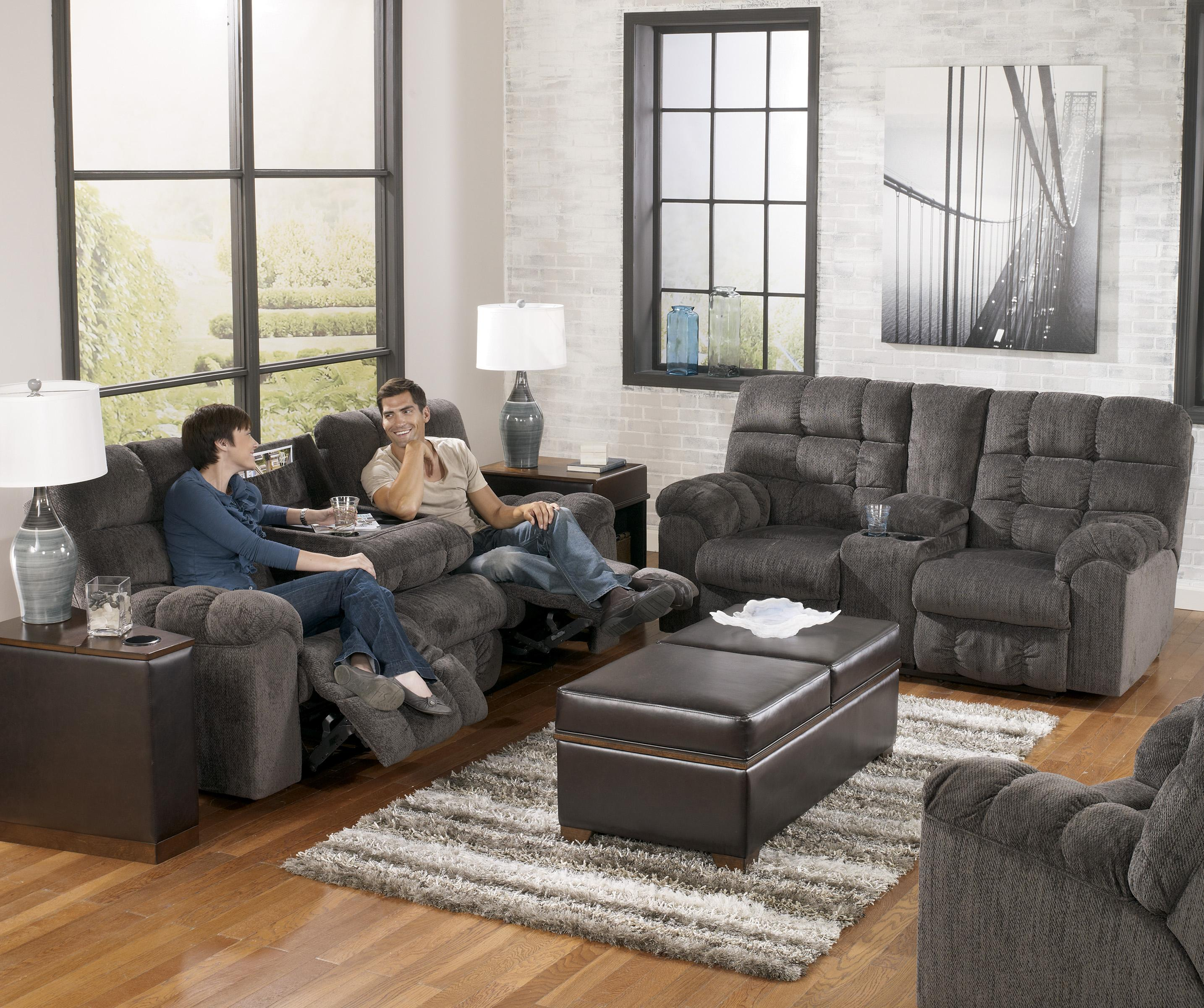 Reclining Sofa With Drop Down Table And Cup Holders By