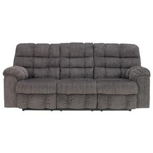 Signature Design by Ashley Acieona - Slate Reclining Sofa with Drop Down Table
