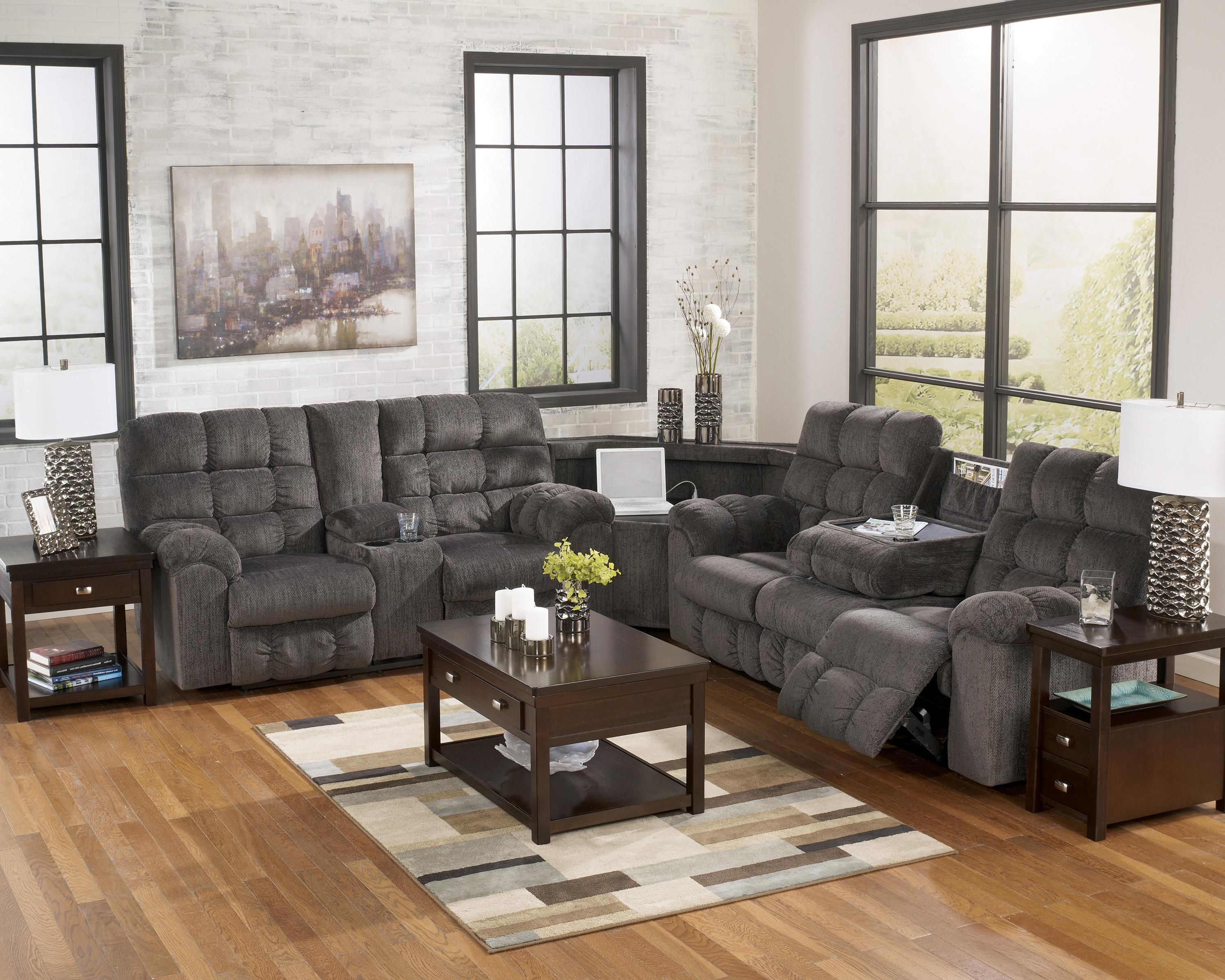 Reclining Sectional With Left Side Loveseat Cup Holders