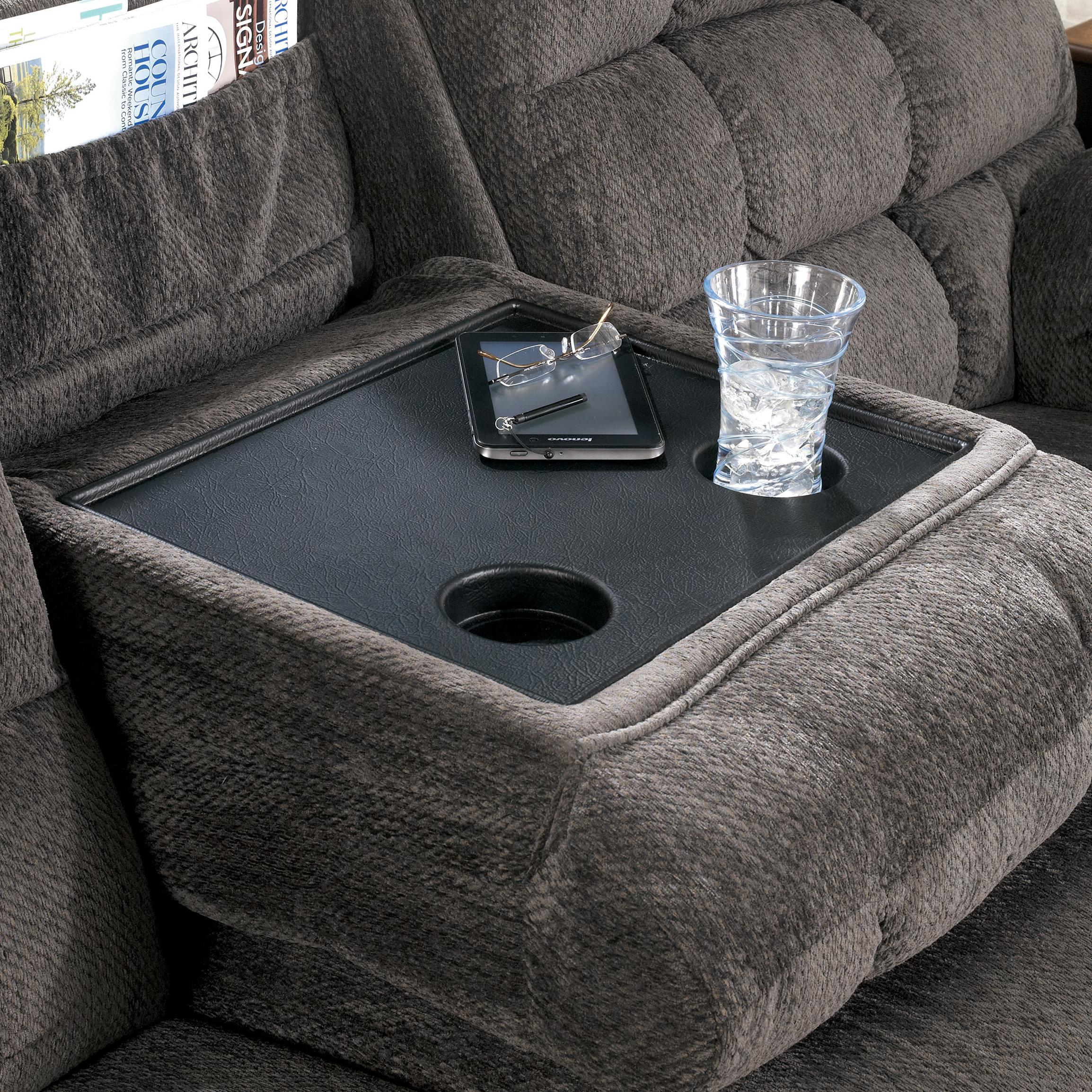 Reclining sectional with left side loveseat cup holders and charging station by signature Loveseat with cup holders