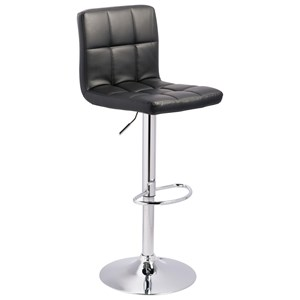 Tall Upholstered Swivel Barstool in Black Faux Leather