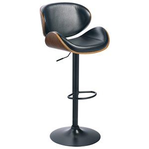 Tall Upholstered Swivel Barstool with Molded Plywood