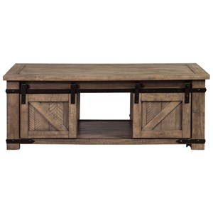 Rustic Storage Cocktail Table with Sliding Barn Doors