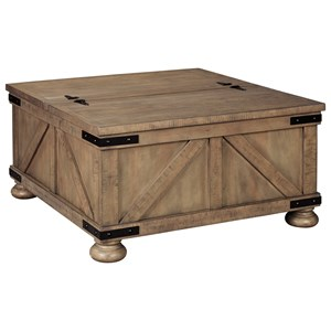 Farmhouse Cocktail Table with Lift Top Storage