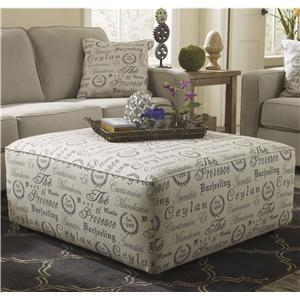 Oversized Accent Ottoman w/ Exposed Block Legs