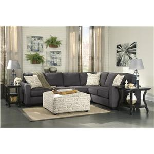 Signature Design By Ashley Alenya Charcoal 2 Piece Sectional With Left Loveseat Furniture