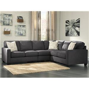 Signature Design by Ashley Alenya - Charcoal 3-Piece Sectional with Left Loveseat
