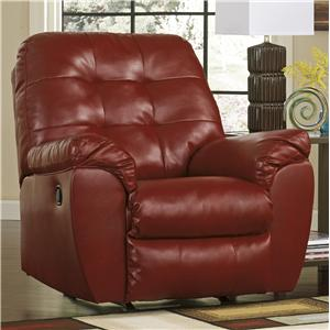 faux leather rocker recliner with pillow arms - Leather Rocker Recliner