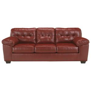 Queen Faux Leather Sofa Sleeper w/ Tufting