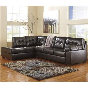 Signature Design by Ashley Alliston DuraBlend® - Chocolate LAF Chaise Sectional w/ Tufting