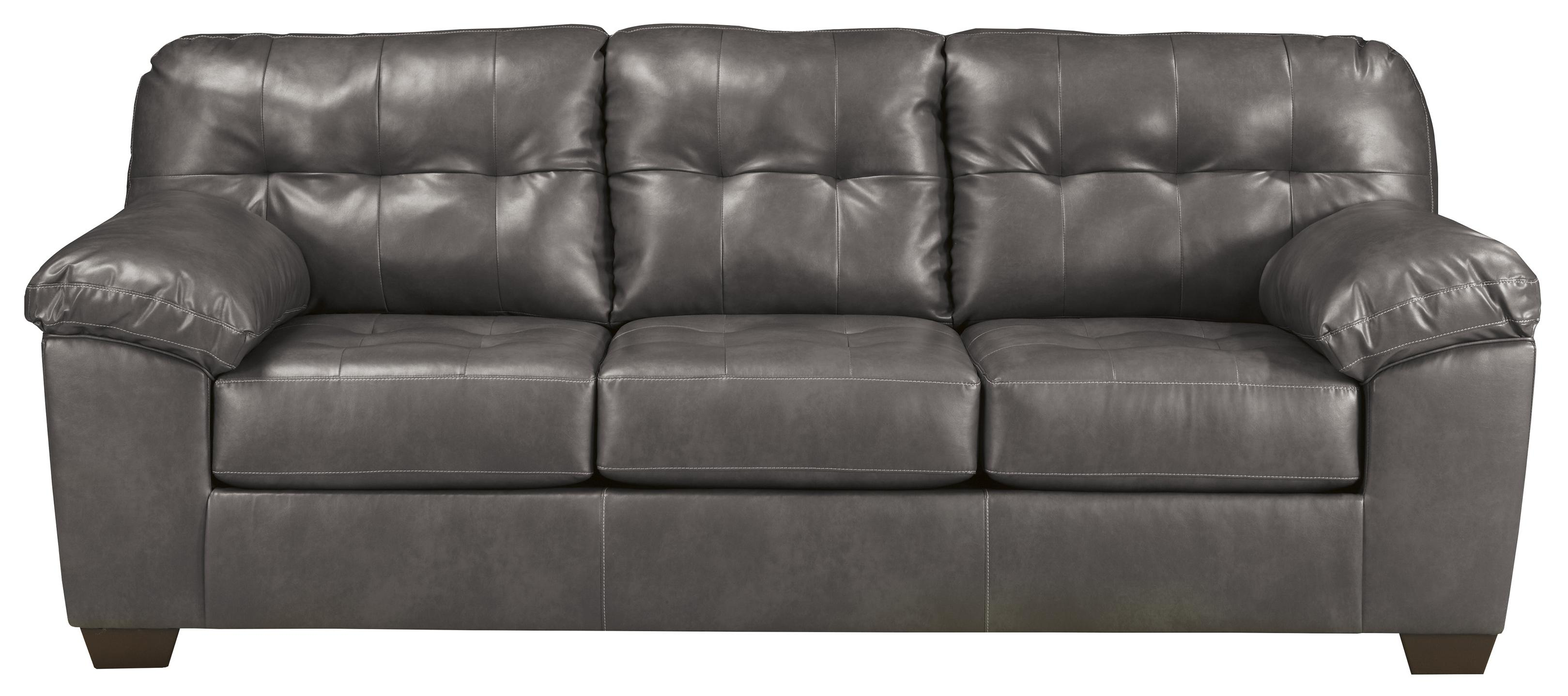 Contemporary Faux Leather Sofa w/ Pillow Arms