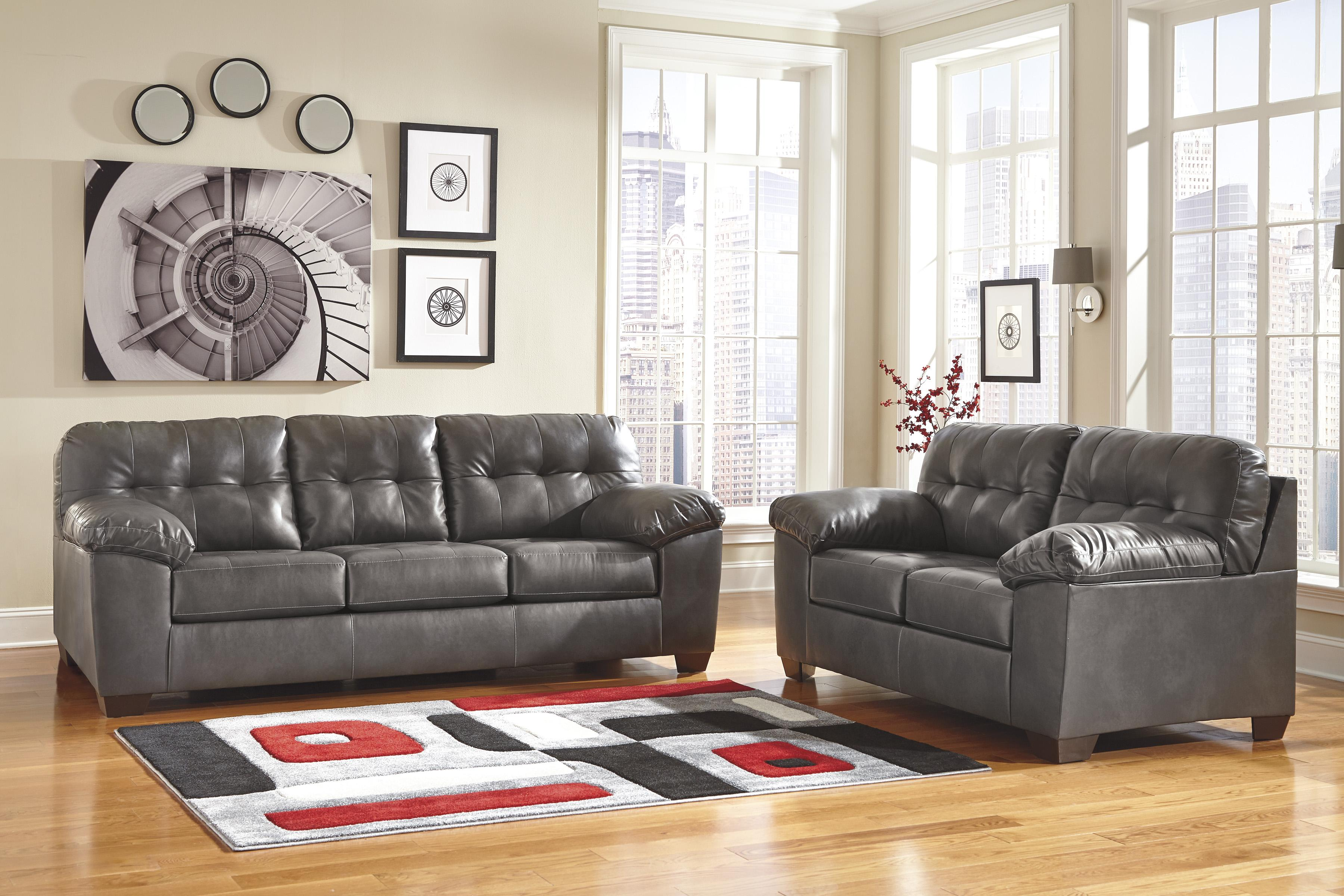 Queen Faux Leather Sofa Sleeper W Tufting By Signature