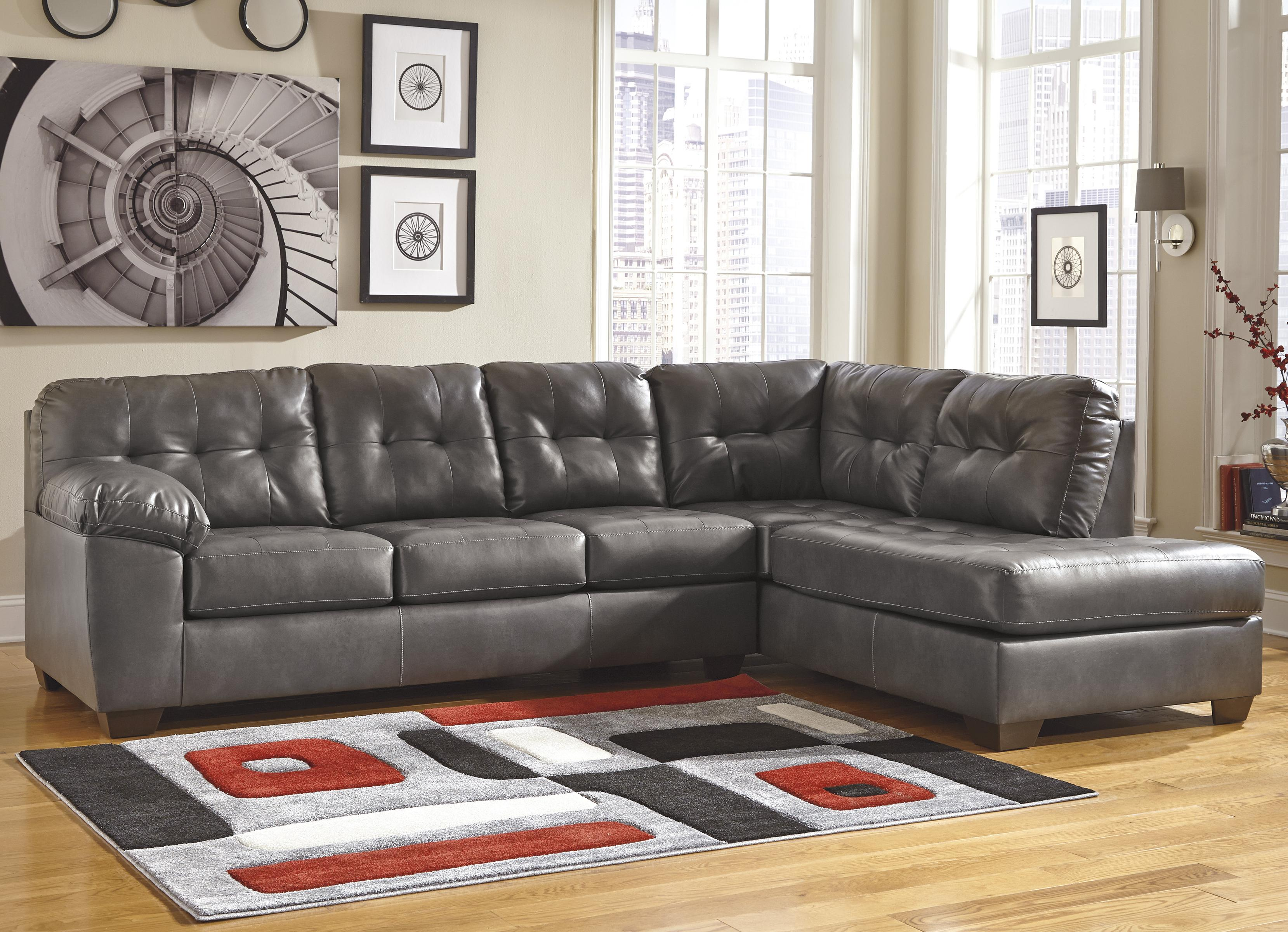 Faux Leather Sectional w/ Right Chaise u0026 Tufting : faux leather sectionals - Sectionals, Sofas & Couches